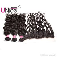 Wholesale unice hair resale online - UNice Hair Malaysian Virgin Natural Wave Bundles With Frontal Closure Hair Weaves With Lace Frontals Weaving Closure Remy Human Hair Bulk