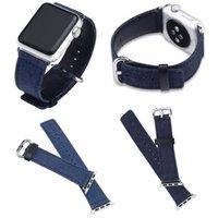 тканевые наручные часы оптовых-Классический синий джинсовый джинсовый ремешок для часов для Apple Watch Series4 3 2 1 ремешок для браслетов iWatch Ковбойский браслет из ткани 42 мм 38 мм NEW