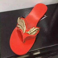 Wholesale black shoes low silver heels for sale - Group buy 2019Summer Women Slippers Casual Shoes Woman Flats Leaf Sandals Slip On Beach Shoes Flip Flops Gold Red Nude Silver