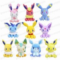 Wholesale new style baby games for sale - Group buy 22cm New Style Pikachu Flareon Vaporeon Jolteon Eevee Leafeon Glaceon Umbreon Espeon Plush Toy Baby Soft Stuffed Toys