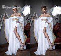 Wholesale wedding dress long sleeves chiffon vintage resale online - White Vintage Off Shoulder Saudi Arabic Long Sleeves Prom Dress A Line Lace Formal Custom Made Plus Size Party Evening Gowns