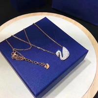 Wholesale white gold swan pendant resale online - Silver Gold Chain Short Necklaces Elegant Swan Pendant Necklace Crystal Diamond Necklaces for Women Gift