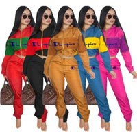 Wholesale pink jackets outfits resale online - Champion Brand Sweatsuit Womens Designer Tracksuits Crop Zip Jacket Coat and Pants Two Piece Outfits Autumn Sportswear Clothing Suits C8201