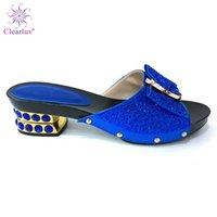 königliche blaue schuhe für frauen hochzeit großhandel-Hochzeit Afrikanische Schuhe Frauen Rutschen Sommer Stil Königsblau Farbe mit Hausschuhen für Frau Hochzeitsfeiern Schuhe Nigerianische Schuhe