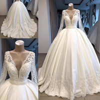Wholesale plunging neck back line wedding dress for sale - Group buy Real Photos Long Sleeve A Line Wedding Dresses Sheer Back With Buttons Covered Plunging V Neck Long Dubai Arabic Bridal Gowns BC1081