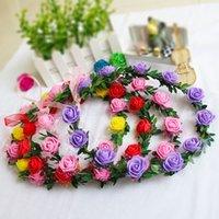 baş bantları için çiçek başları toptan satış-Çiçek Çelenk Bohemian Başkanı Çiçek Taç Rattan Garland Festivali Düğün Gelin Çiçek Kafa Headdress Parti Dekorasyon MMA3028-2