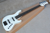 Wholesale bass guitars resale online - 5 strings Rosewood Fingerboard White Body Electric Jazz Bass Guitar with Transparent Pickguard Chrome hardware Body Binding offer customize