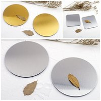 Wholesale bamboo protection for sale - Square Round Mug Mat Gold Place Pad Metal EDC Cushion Non Slip Stainless Steel Heat Protection Silvery Anti Wear zx C1