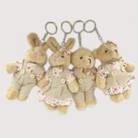 pareja muñeca oso al por mayor-Kawaii Teddy Bear Rabbit Couples Juguete de peluche Animal de peluche Tela suave Muñeca Osos Relleno de peluche Colgante Regalos de boda Accesorios de felpa clave