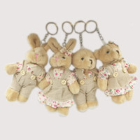 Wholesale rabbit doll wedding for sale - Group buy Kawaii Teddy Bear Rabbit Couples Plush Toy Stuffed Animal Soft Cloth Doll Bears Stuffed Plush Pendant Wedding Gifts Key Plush Accessories