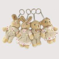 mini dolma hayvan ayıları toptan satış-Kawaii Teddy Bear Tavşan Çiftler Peluş Oyuncak Dolması Hayvan Yumuşak Bez Bebek Ayılar Dolması Peluş Kolye Düğün Hediyeleri Anahtar Peluş aksesuarları