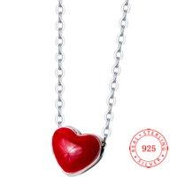 corrente de prata japonesa venda por atacado-Venda quente de alta qualidade moda jóias S925 prata coração vermelho colar feminino japonês tendência curto colares de cadeia de clavícula