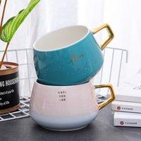 Wholesale high tea china resale online - 350ml High Quality Large Letter Ceramic Coffee Mug Porcelain Coffee Milk Tea Cup Drinkware