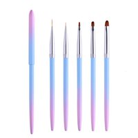 Wholesale acrylic painting brushes resale online - Professional UV Gel Nail Art Brushes Liner Painting Pen Acrylic Drawing Brush Gradient Handle Manicure Nail Tools RRA2529