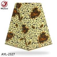 ingrosso vero materiale cotone-Tessuto beige con stampa a cera africana 100% cotone Buona qualità Tessuto confortevole Tessuto a cera vera AYL- 2327