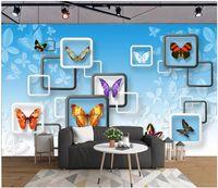 güzel kelebek duvar kağıtları toptan satış-Özel fotoğraf kağıdı 3D duvar resimleri duvar kağıdı Güzel kelebek moda oturma odası duvar kanepe arka plan duvar kağıtları