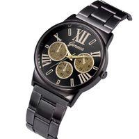Wholesale big geneva watches resale online - Fashion mens big eyes roma design alloy metal watch men male business steel casual geneva quartz wrist watches