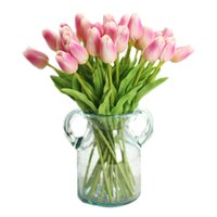 ingrosso piante artificiali di tulipani-1 Pz Fiori Artificiali Mini Pu Tulipani Bouquet Piante Artificiali Real-Touch Fiori Per La Casa Festa Nuziale Decor (Deep Pin