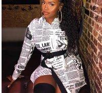 chemisiers féminins achat en gros de-Journal Imprimé Blanc Mini Robe Lettre Femmes À Manches Longues Sexy Vintage Plus La Taille Haut Femme Blouse Blanche Hiver Streetwear Chemise Tops