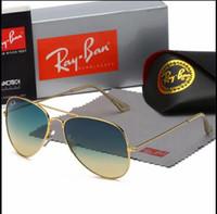 schöne sonnenbrille großhandel-Schön mit Box rbBrand Hochwertige klassische Pilotensonnenbrille Designer Herren Damen Sonnenbrille Brillen Gold Metall Grün Glas Linsenetui
