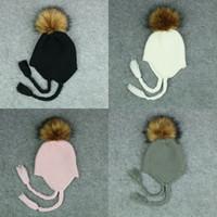 Wholesale beanies for girls ball online - Baby Knitting Hat For Kids Newborn Boys Girls Pom Pom Ball Hat Faux Raccoon Fur Pom Beanie Winter Caps