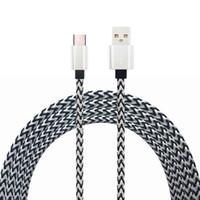 провода для сотовых телефонов оптовых-1-метровая нейлоновая оплетка Type-C USB-кабель для передачи данных Выход 2.0A Провод быстрой зарядки для мобильного телефона Smart Mobile