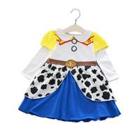 ingrosso bambola costumi bambini-Kids Girl Princess Dress Halloween Jessie Cosplay Bow Tie Doll colletto Button Abiti Kids Designer vestiti Party Peform Costume Dress 1-5T