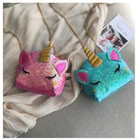 ingrosso catena della vita per le ragazze-3d unicorno catena borsa ragazze donne glitter crossbody marsupio marsupio borse della vita del fumetto borse borsa cosmetica del raccoglitore shopping totes B71701