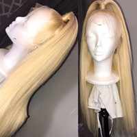 Wholesale 613 lace front synthetic resale online - Blonde Lace Front Wig Brazilian Straight simulation Human Hair Wigs Pre Plukced synthetic Lace Front Wig Density Lace Front Wig