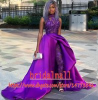 Wholesale jumpsuit white woman resale online - Women Jumpsuits Purple Satin Prom Dresses With Detachable Train High Neck Lace Appliqued Formal Evening Gowns African Party Pant Suits