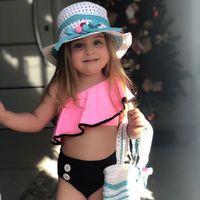 biquini de niños lindos al por mayor-Los niños de dos piezas de baño Chicas playa trajes de baño del traje de baño del hombro del bebé de la colmena oblicua Cute Kids Mar Bikinis T-TA692
