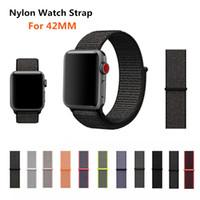 ceinture de montre en nylon achat en gros de-Konaforen Sport Bande de sangle en nylon tissé pour Apple Watch 3 42mm Bracelet-ceinture Ceinture en nylon imitant le tissu pour iWatch 3/2/1 42mm