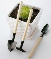 ingrosso piantando bambini in giardino-1 Set = 3 pezzi Mini attrezzi da giardino Kit Piccolo pala Rastrello vanga Manico in legno capa in metallo per bambini Giardiniere Strumento di giardinaggio