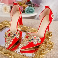 Wholesale sandals gems for sale - Group buy Women Wedding Sandals Ankle Buckle Strap Gold Lace With Red Green Gem Pearl Tassel cm Heels High Quality Nice Bride Shoes