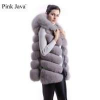 меховые шкуры лисы оптовых-pink java QC8056 FREE SHIPPING New arrival full pelt real  fur hoodie vest high quality thick  fur gilet fashion girl's