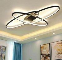 oscurecimiento de la lámpara al por mayor-Nuevo diseño caliente Atenuación remota Lámpara led moderna para sala de estar Dormitorio plafon led Lámpara moderna blanca / negra MYY