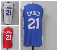 Wholesale polo jersey shirt online - Men s Joel ers Embiid Basketball Jerseys New Season Fashion Jersey Blue White Red Size S XXL Men polo shirt