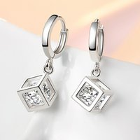neuankömmlinge silberkorea großhandel-Liebe Rubiks Cube Silber Silber Platte Ohrringe Korea Kupfer Diamant schönheit Charme Ohrringe Neue ankunft eardrop für frauen