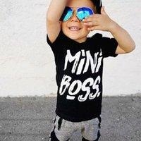 camisas casuais pretas para meninos venda por atacado-Casual kid bebê meninos roupas 2 pcs set Criança Crianças Bebê Menino letra preto T-shirt Tops Calças 2 Pcs outono Outfits kid boy clothing