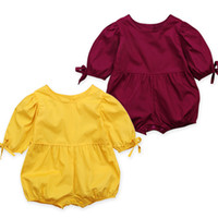 Wholesale baby jumpsuit online - Baby girls Puff Sleeve romper INS infant Solid color bubble sleeve Jumpsuits summer fashion Boutique kids Climbing clothes C6093