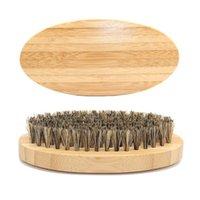 erkekler için bambu hediyeleri toptan satış-Baba Günü Hediyeleri için Doğal Bambu Erkekler Sakal Fırçası Kulpludurlar Elips Şekilleri Kıllar Fırçalar Yeni Ürünler 4 3zq E1