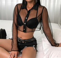 сетчатой длинным рукавом блузка женщин оптовых-Women Sheer Mesh Fish Net Long Sleeve Turn Down Neck See Crop Top Shirt Black Lace Transparent Blouse