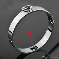 bdsm metal boyun yaka toptan satış-Alaşım Kilitlenebilir Metal Slave Boyunluk Bdsm Kölelik Kolye Gerdanlık Çift Için Seks Kölesi Rol Oynamak Seks Oyuncakları