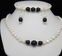 ingrosso monili genuini di agata bianca-jewelry or Free Genuine 7-8mm bianco perla d'acqua dolce nera collana bracciale orecchini set