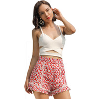 korea mode strand großhandel-Sanrtune Fashion Beach Shorts Damen High Waist Ruffle Lace Shorts Largr GelbRot Casual School Sweet Korea Style Kurze Hosen