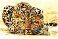 óleo da pintura do leopardo venda por atacado-Kits Pintura Pintura DIY Por Números Pintura A Óleo Adulto Pintado À Mão-Leopardo 16