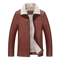 искусственные овчины куртки мужчин оптовых-2018 High Quality Leather Jacket Men Faux Sheepskin Jacket Leather  Leder Winter Coat Warm Fur Liner Coat
