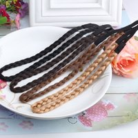Wholesale hair plaited elastic for sale - Group buy Simulation Synthetic Hair Plaited Headband Elastic Hair Band Braided Headwear Hair scrunchy Headband