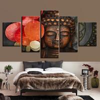 ingrosso pannello buddha art-Decorazione della stanza del salone per la stanza dei bambini quadro 5 pannello Figura di Buddha Canvas Art Print pittura modulare Poster parete foto