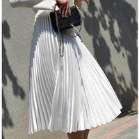 uzun beyaz etek için üst toptan satış-Yüksek Bel Kadınlar Uzun Etek Beyaz Pileli Etekler Moda Tasarımı Üst Marka Kadınlar Etekler Kadın Uzun Etekler Faldas Saia Midi Y19042402